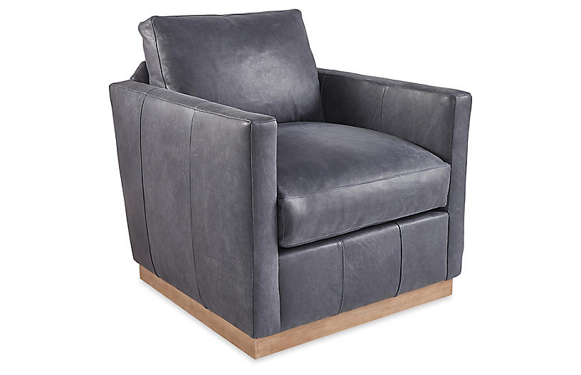 Adele Swivel Chair, Slate Gray Leather