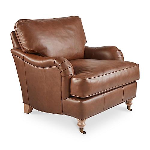 Brooke Club Chair, Caramel Leather