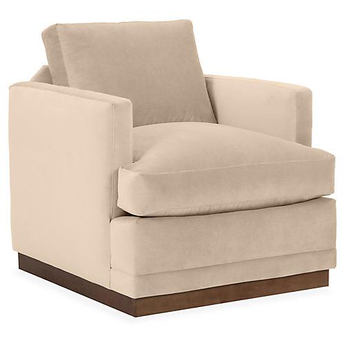 Shaw Swivel Club Chair, Bisque Velvet