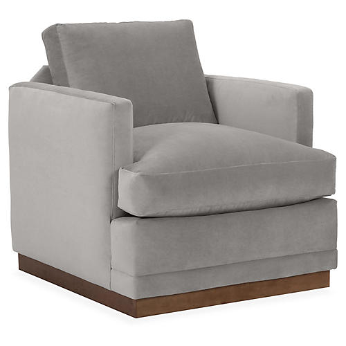 Shaw Swivel Club Chair, Light Gray Velvet