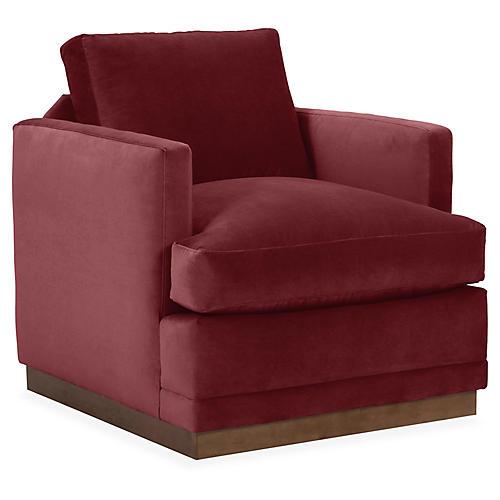 Shaw Swivel Club Chair, Berry Velvet