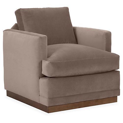 Shaw Swivel Club Chair, Café Velvet