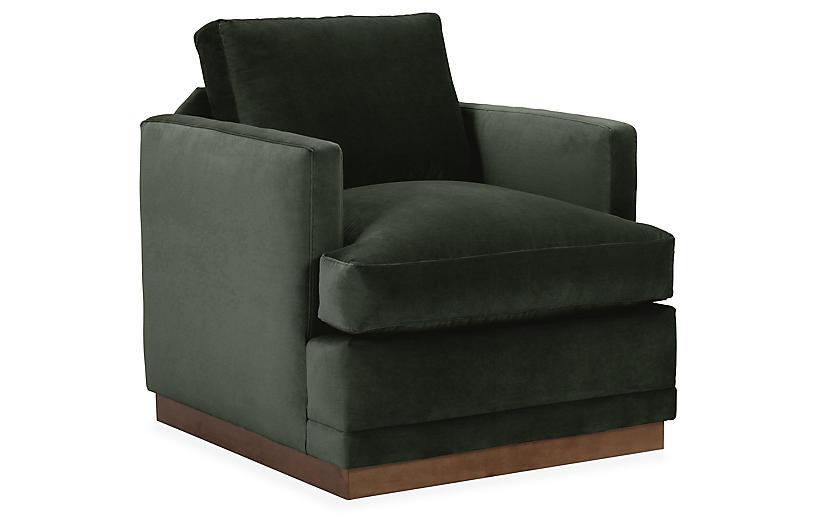 Shaw Swivel Chair, Forest Green Velvet
