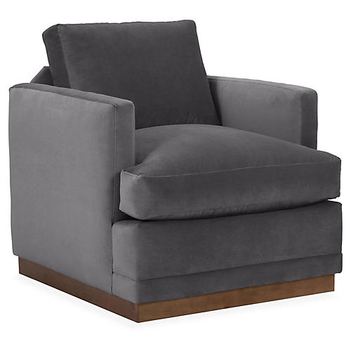 Shaw Swivel Chair, Charcoal Velvet