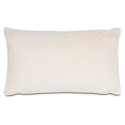 Faux-Fur 13x22 Lumbar Pillow, Ivory