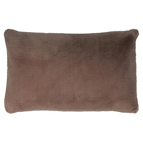 Faux-Fur 13x22 Lumbar Pillow, Café