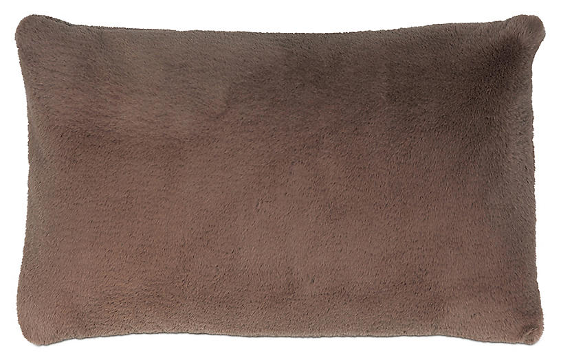 Faux-Fur 13x22 lumbar Pillow, Brown
