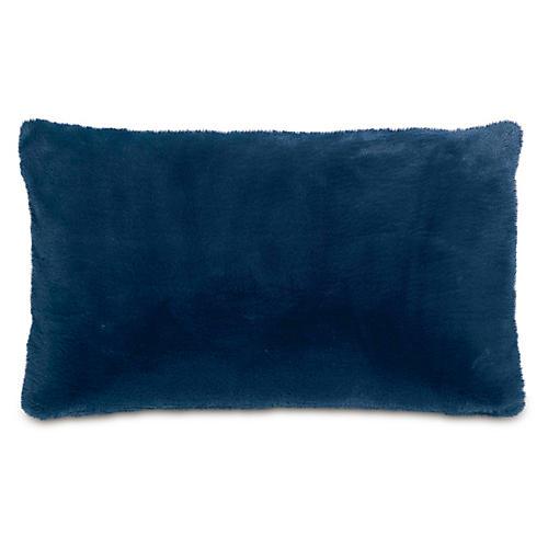 Faux-Fur 13x22 Lumbar Pillow, Navy