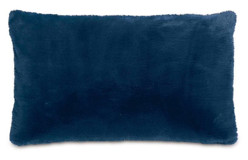 Faux-Fur 13x22 lumbar Pillow, Blue