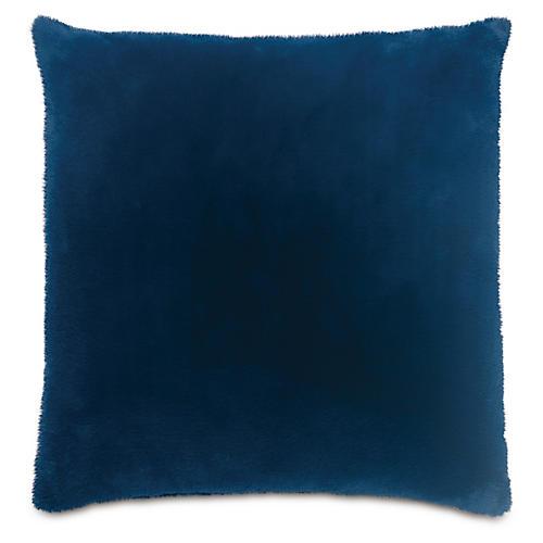Faux-Fur 22x22 Pillow, Navy