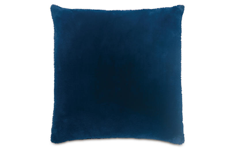 Faux Fur 22x22 Pillow, Blue