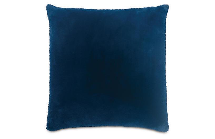 Faux Fur 22x22 Pillow, Blue
