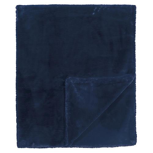 Faux-Fur Throw, Navy