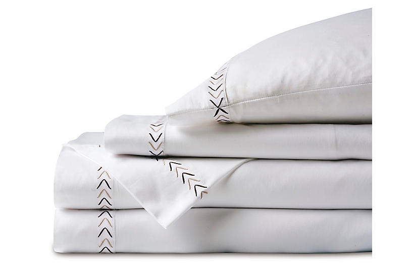 Miri Sheet Set, White/Tan