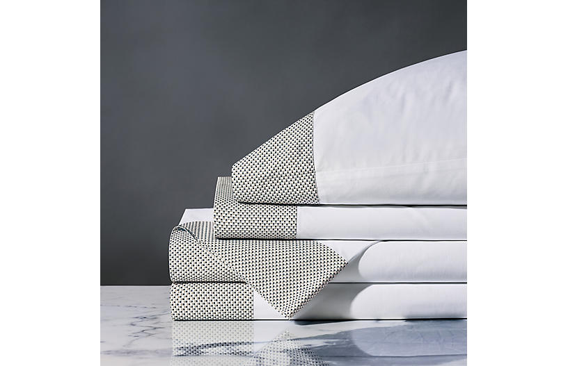 Kinsley Dotted Sheet Set, White