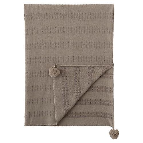 Brinsley Pom-Pom Knit Blend Throw, Tan