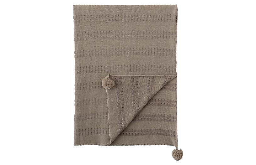 Brinsley Pom Pom Knit Blend Throw, Beige