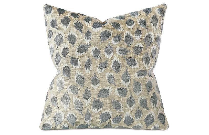 Dahlia 22x22 Spot Pillow, Silver/Tan
