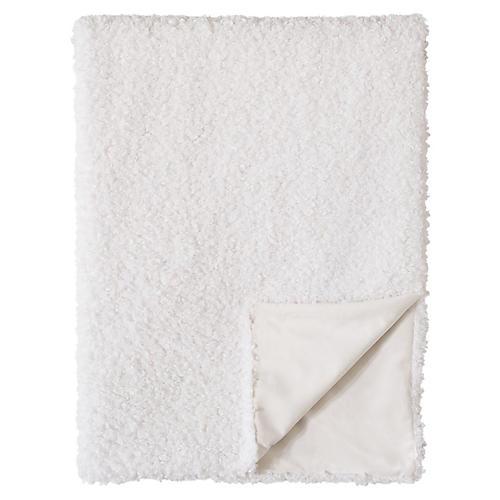 Poodle Faux-Fur Throw, White