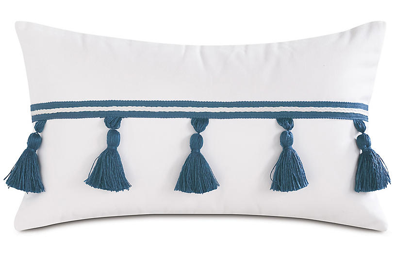 Celeste 13x22 Lumbar Pillow, White/Blue