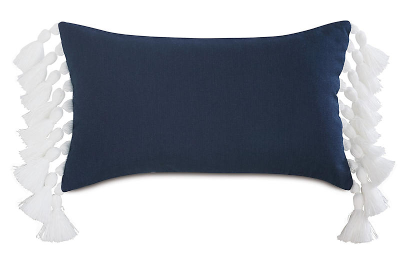 Callie Lumbar Pillow, Indigo/White