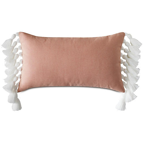 Callie 13x22 Lumbar Pillow, Melon/White