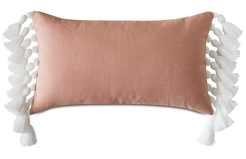 Callie Lumbar Pillow, Melon/White