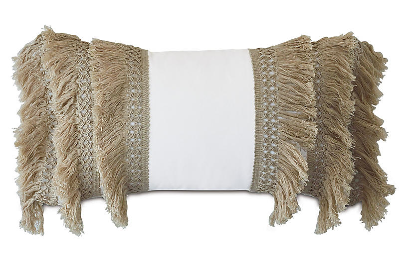 Callie Lumbar Pillow, White/Natural