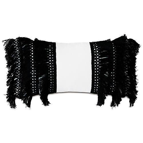 Callie 13x22 Outdoor Lumbar Pillow, Black/White