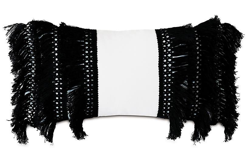 Callie Lumbar Pillow, Balck/White