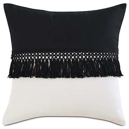 Mila 20x20 Outdoor Pillow, Black/Sand