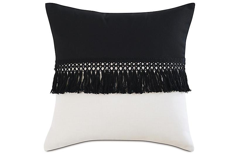 Mila Outdoor Pillow, Black/Sand