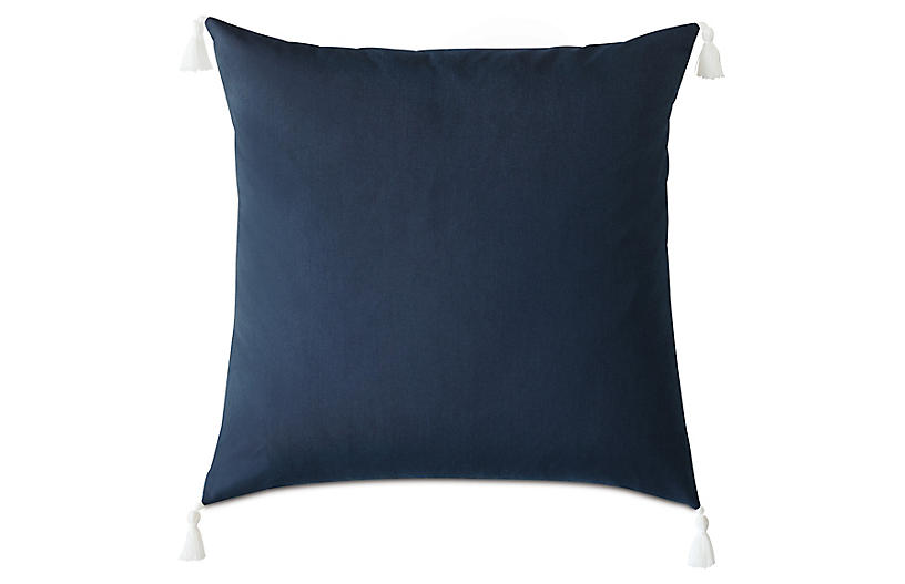 Kaia Floor Pillow, Indigo/White