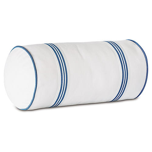 Willa 9x18 Outdoor Bolster, Blue/White