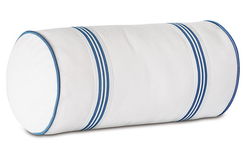 Willa Bolster Pillow, White/Blue