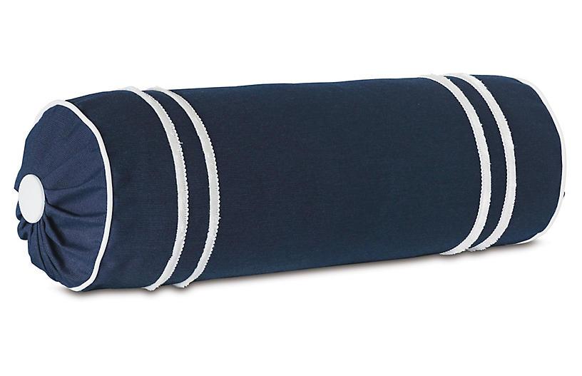 Bree Bolster Pillow, Blue/White