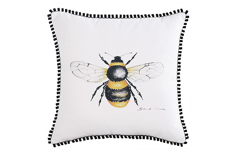 Quinn Pillow, White/Yellow