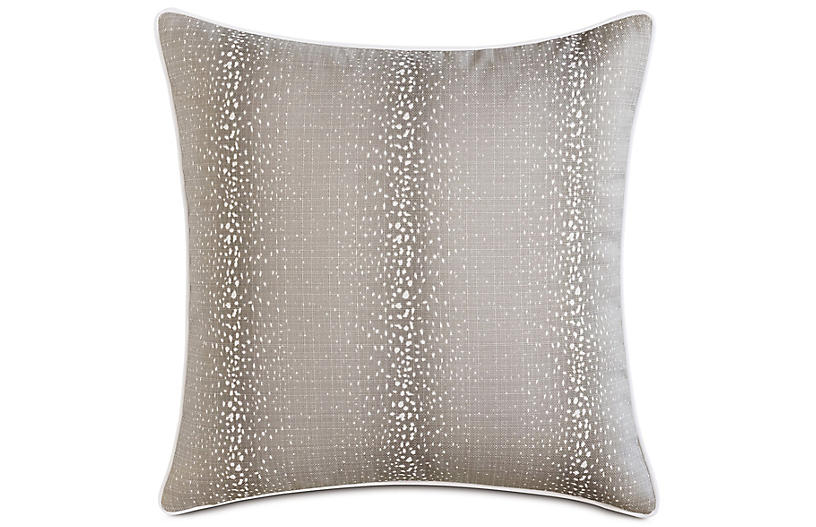 Evie Mink Pillow, Natural/White