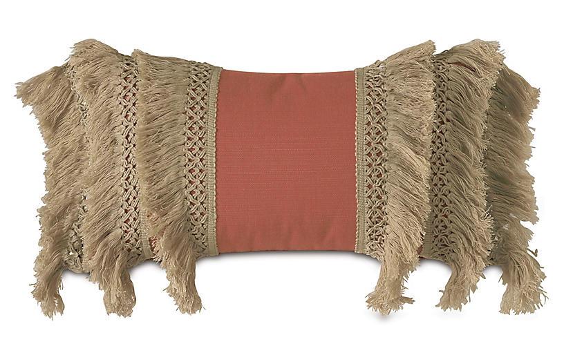 Callie Lumbar Pillow, Orange/Tan