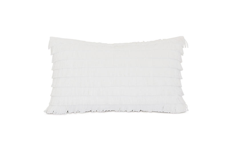 Faye 13x22 Outdoor Lumbar Pillow, White