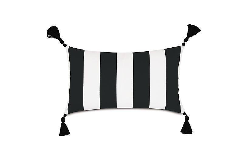 Kubo 13x22 Outdoor Lumbar Pillow, Black/White