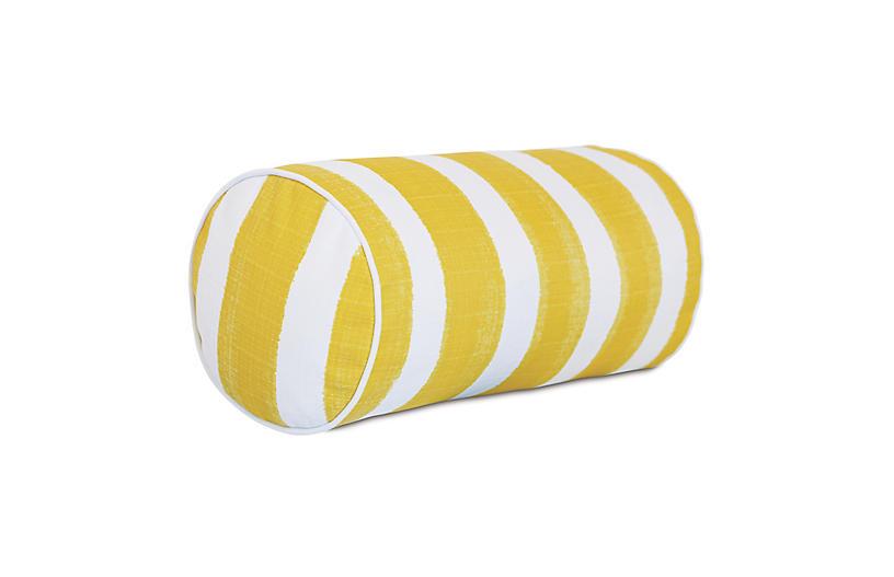Pergola 9x18 Outdoor Bolster Pillow, Yellow/White