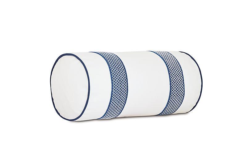 Willa Bolster Outdoor Pillow, White/Navy