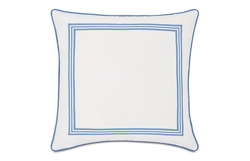 Willa Outdoor Pillow, White/Blue