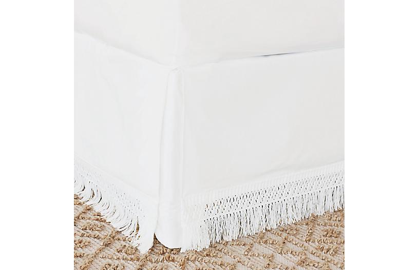 Meyer Boho Fringe Bed Skirt, White