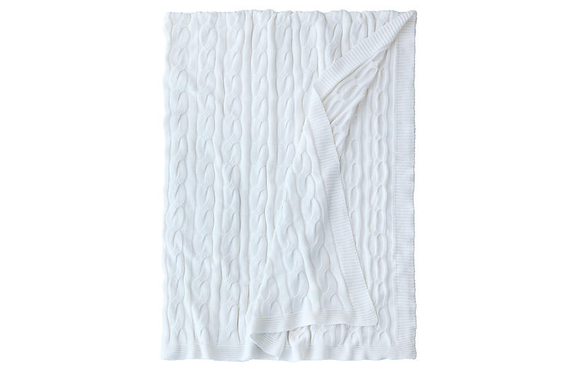 Avalon Cable-Knit Cotton Throw, Ivory