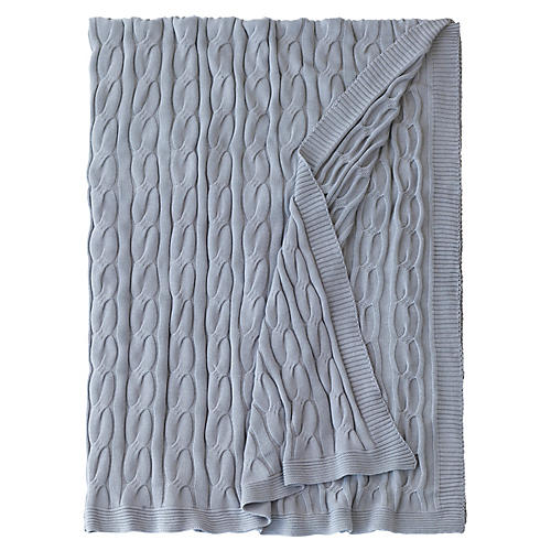 Avalon Cable-Knit Cotton Throw, Slate