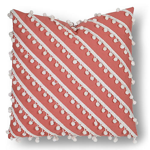 Maddie 20x20 Outdoor Pillow, Coral/White