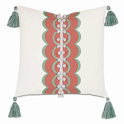 Sarah 18x18 Outdoor Pillow, White/Coral