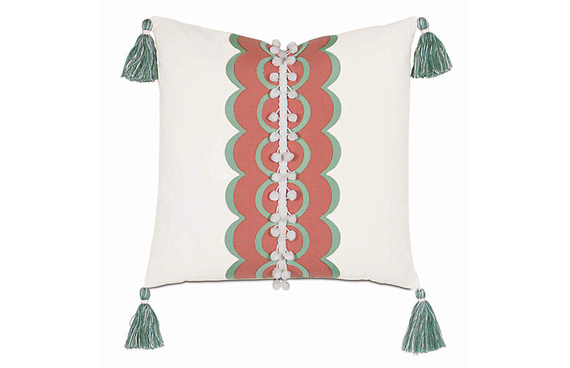Sarah 18x18 Outdoor Pillow, White/Coral